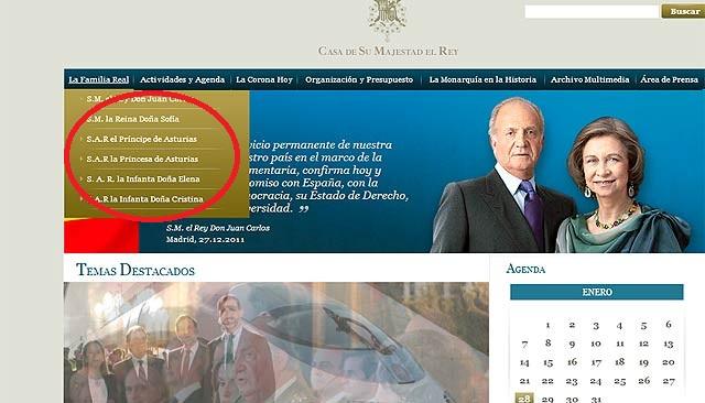 Detalle de la web de donde ha sido retirado el duque de Palma.